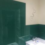 bathroom sink green splashback after