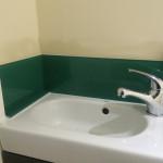 cloakroom green splashback
