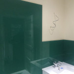 bathroom sink green splashback after